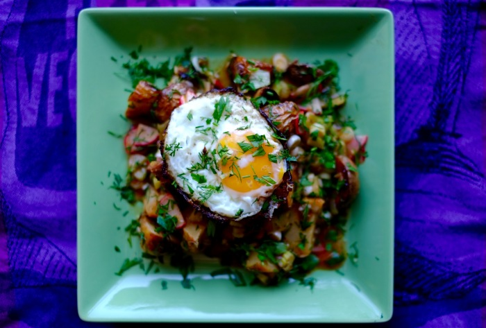 Warm Potato Salad with a Crispy Egg
